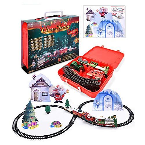KingbeefLIU Navidad Música Eléctrica Vías De Ferrocarril Coche Tren Niños Juguete para...