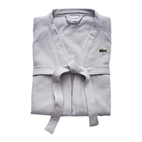 """Lacoste Classic Pique 100% Cotton Bath Robe, 41.5""""L, Micro Chip Grey"""