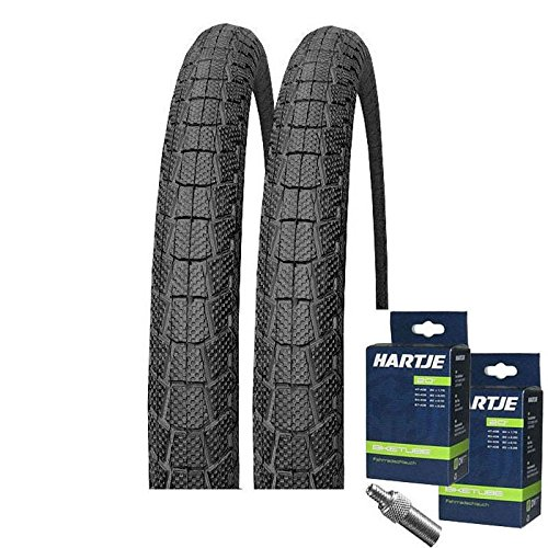Juego: Kenda neumáticos de bicicleta BMX 2 x K907 Krackpot negro + 2 cámaras de 20 x de 1,95 válvula