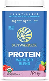 Sunwarrior Warrior Blend, Organic Vegan Protein Powder with BCAAs and Pea Protein (Berry, 30 Servings)