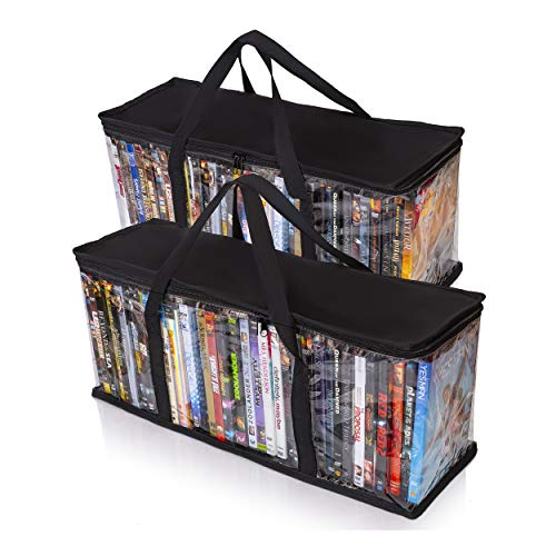 Besti Home DVD Storage Bags (2-Pack) Holds 80 Total Movies or Video Games, Blu-ray, | Convenient Travel Case for Media | Stackable, Easy to Carry