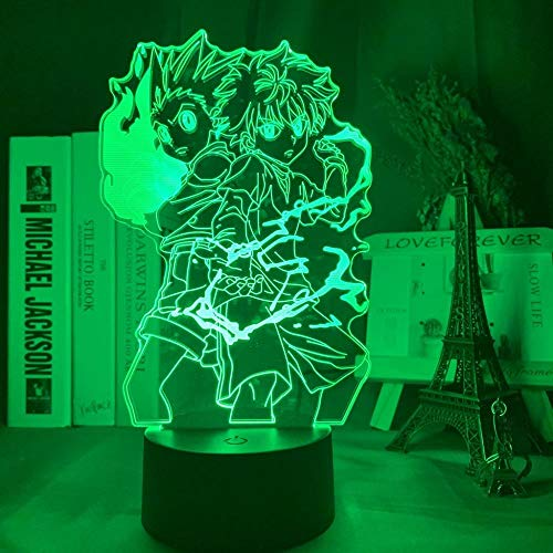 3D LED Night Light,Gon and Killua Figure Anime Hunter X Nightlight for Kid Bedroom Decor Lighting Child Lamp Bedside for Xmas/Birthday(touch control)