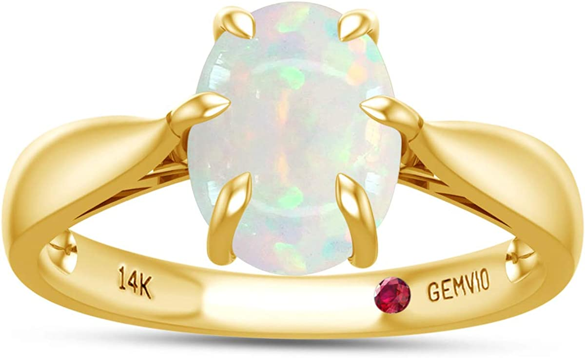 GEMVIO Collection 1 1/4 Carat 7X9MM Oval Cut Natural Opal Gemstone 6-Prong Solitaire Engagement Ring in 10K, 14K or 18k Solid Gold Jewelry For Women 1.25 Cttw