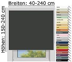 EFIXS Thermorollo Medium - 25 mm schacht - kleur: donkergrijs (061) - maat: 200 x 190 cm (stofbreedte x hoogte) - hittebescherming rolgordijn - black-out roller*