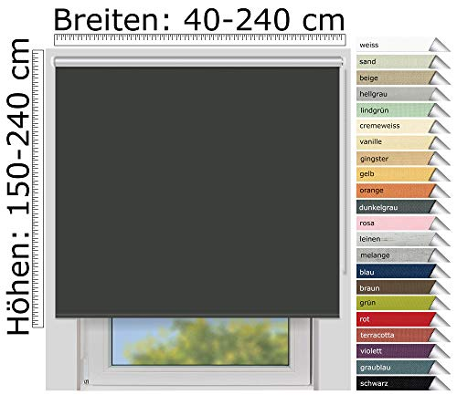 EFIXS Thermorollo Medium - 25 mm Welle - Farbe: dunkelgrau (061) - Größe: 200 x 190 cm (Stoffbreite x Höhe) - Hitzeschutzrollo - Verdunklungsrollo