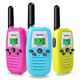 SUNTON Walkie Talkies for Kids 3-Pack, 22 Channels 2 Way Radio 3 Miles Long Range Toy with Backlit LCD and Flashlight, Great Gifts for Boys & Girls for Outdoor, Hiking, Camping Game(Blue Pink Yellow)