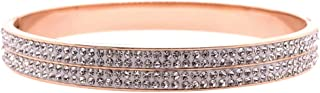 Bevilles Rose Stainless Steel 6mm Pave Crystal Bangle