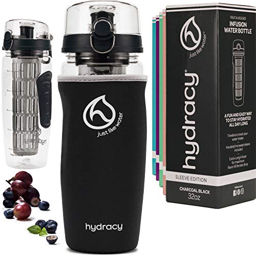 Hydracy Fruit Infuser Water Bottle - 1Litre Sport Bottle with Full Length Infusion Rod, Time Mark and Insulating Sleeve Combo Set + 27 Fruit Infused Water Recipes eBook Gift - Charcoal Black