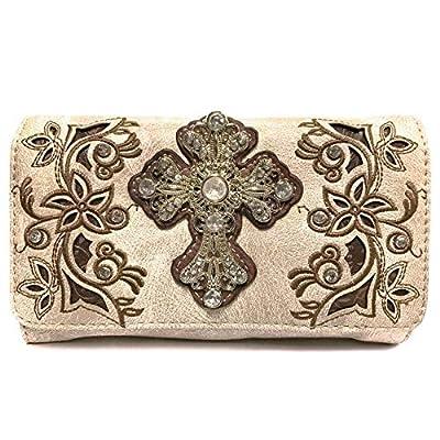 Justin West Embroidery Design Rhinestone Cross Shoulder Concealed Carry Handbag Purse (Beige Wallet)