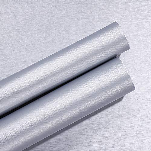 Película de vinilo autoadhesiva Metal plateado cepillado Papel pintado de acero inoxidable Muebles Etiqueta de papel para lavavajillas Nevera Refrigerador Estufa Muebles extraíbles Impermeable 40CMX3M
