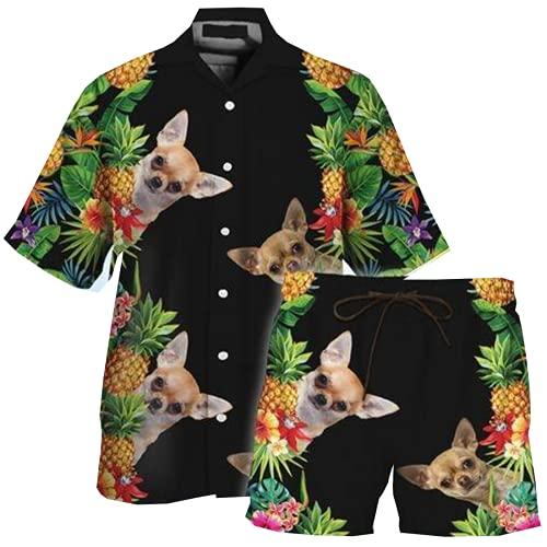 Chihuahua Pineapple Mens Hawaiian Shirt And Shorts Sets 2 Piece Dog Button Down Shirt Swim Trunks Combo Series 3