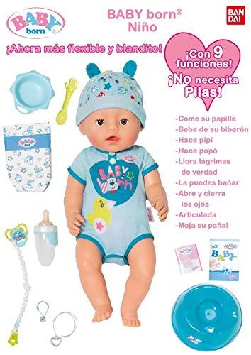 Baby Born- MUÑECO Interactivo NIÑO con Accesorios, Multico