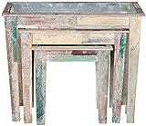 Better & Best 2711420 Set 3 jardineras de pared en madera rústica y colores vintage de madera y metal