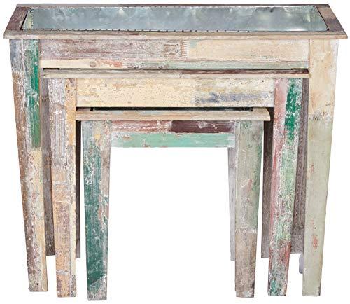 Better & Best 2711420 Set 3 jardineras de pared en madera rústica y colores vintage de madera y...