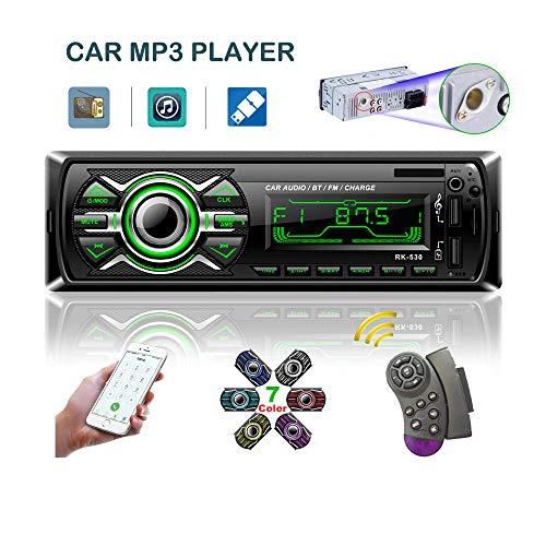 LSLYA 7 Retroilluminazione a colori Car Stereo Autoradio universale per autoradio Ricevitore 1 DIN Bluetooth MMC/USB/SD/AUX/FM Volante telecomando per telefono