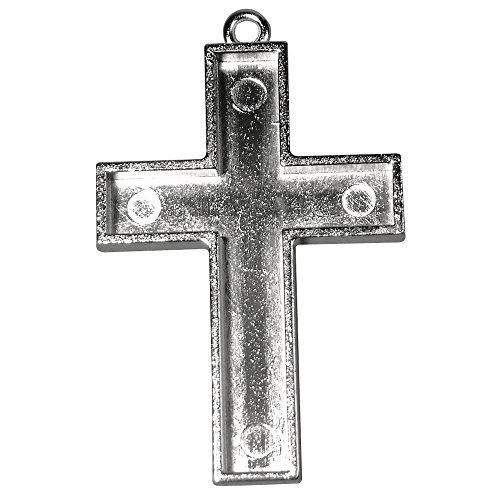 Rayher 2230721 Schmuckkessel Kreuz m. Öse, 3,8x2,8 cm, SB-Btl 1 Stück, platin