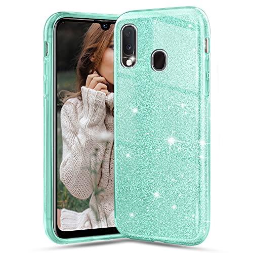 Glitter Cover per Samsung Galaxy A20e, Crystal Glitter Ultra Sottile Morbido TPU Silicone Trasparente Case Colorate Brillantini Strass Bling Protettiva Antiurto Hybrid Semi Rigida Custodia, Verd