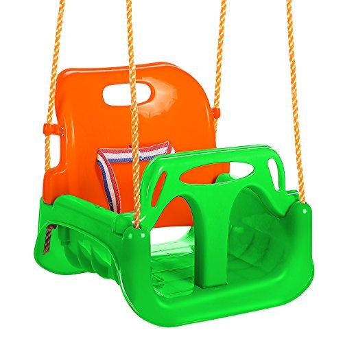 OUTCAMER Altalena per Bambini Altalena 3 in 1 Swing con Schienale e Protezione Anteriore Rimovibile per Sicurezza con Corda di 2M per Bambini (Multicolore3)