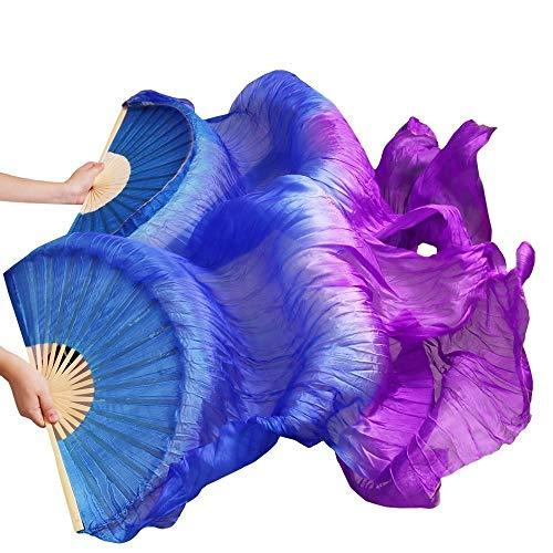 シルクファンベール 2本セット シルク100% ベリーダンス ファンベール シルクファンベール ベール シルク 衣装 扇子 団扇 舞台 小道具 アクセサリー 扇子 団扇 (青紫)