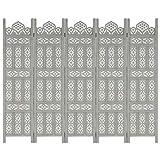 vidaXL Madera de Mango Biombo 5 Paneles Tallado a Mano Divisor de Habitación de Vestidor Pantalla de Privacidad Separador de Ambientes Gris 200x165 cm