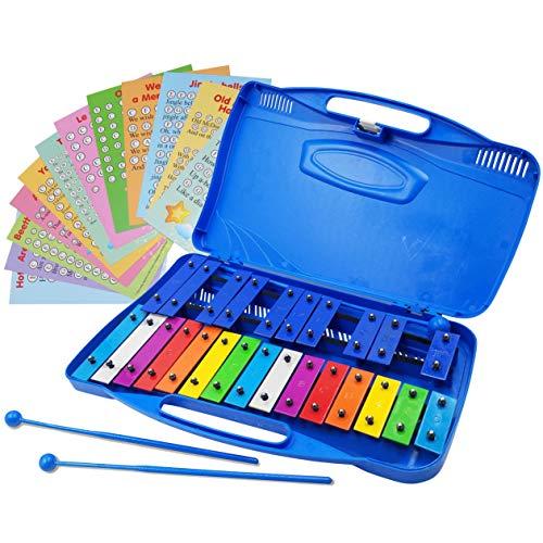 Xylophone 25 Note Chromatic Glockenspiel en una funda de plástico azul – Juegos de cartas con 23 canciones codificadas por letras – 15 colores codificados canción E-book