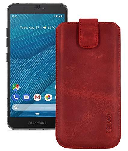 Suncase Echt Leder Hülle kompatibel mit Fairphone 3+   Fairphone 3 Plus Tasche (passend nur für das Gerät OHNE Bumper) antik rot