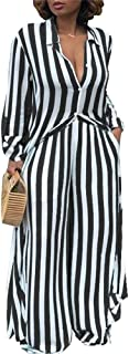 Womens 2 Piece Outfits Striped Open Front Kimono Cardigan Pockets Wide Leg Long Pants Sets