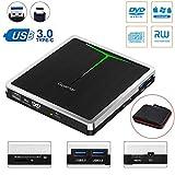 External CD DVD Drive Guamar 5 in 1 USB 3.0 USB C CD DVD Drive CD Player Burner Writer Optical Drive for Laptop/Micbook/Windows/PC Supports SD Card/TF Card/2 USB 3.0 Transfers/DVD±RW/DVD±R/CD-R
