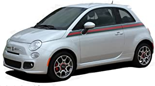 MoProAuto Pro Design Series Italian Applique : 2011-2015 Fiat 500 Wide Upper Door Red Green Italian Flag Style Vinyl Graphic Decal Stripes (Fits All Models) (Color-3M 66 Dark Red)