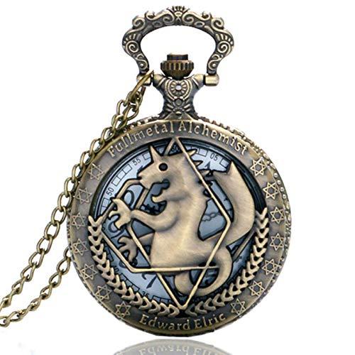 ZMKW Reloj de Bolsillo de alquimista de Metal Completo en Tono Plateado/Bronce Edward Elric Anime diseño Colgante Collar Cadena Regalo para niños, 3