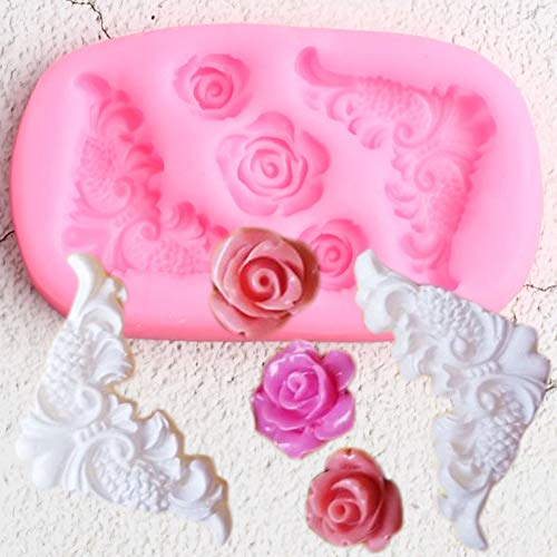 UNIYA Scroll Relief Corner Silicone Molds Rose Flower Cupcake Topper Fondant Mold Cake Decorating Tools Candy Chocolate Mould