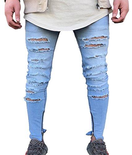 Men's Skinny Ripped Holes Jeans Zipper Denim Pants (US 30=Tag 32(Asian Size), Blue)
