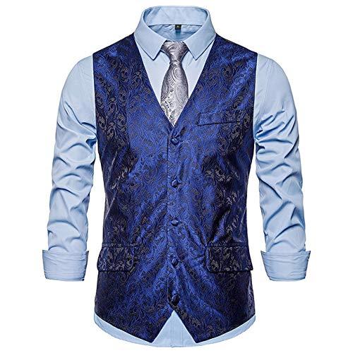 Legogo Herren Floral Gedruckt Anzug Weste Kleid Weste Für Männer Smoking Weste(dunkelblau,L)