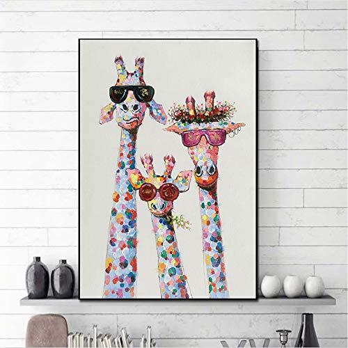 wZUN Arte Colorido óleo Animal Jirafa una Familia con Gafas Pintura Lienzo Cuadro Lienzo Mural 60x90 Sin Marco