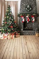 HD 7x10ft写真の背景新年クリスマスツリーボールちょう結びガーランドストッキング大理石レンガの壁暖炉木製の床写真の背景ホリデーパーティー写真撮影背景スタジオの小道具