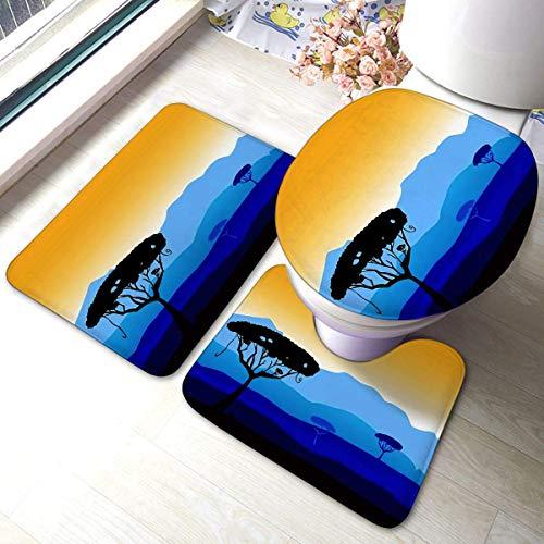 Feiyaodeng Badezimmer-Matten-Sets 3-teiliges Set Afrikanischer Safari-Baum-Silhouette Dunkle Akazien-Bäume Weicher, Rutschfester Teppich mit Unterlage Badematte + U-förmiger Kontur-Teppich-Absorber
