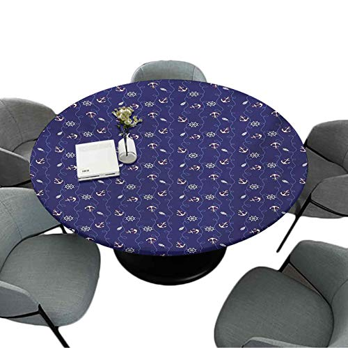 Elastic Edged Round Tablecloth 70 Inch Round Table Cloth for Dining Room Kitchen Party Nautical Composition with Helm and Curved Ropes on a Navy Blue Background Navy Blue White Ruby