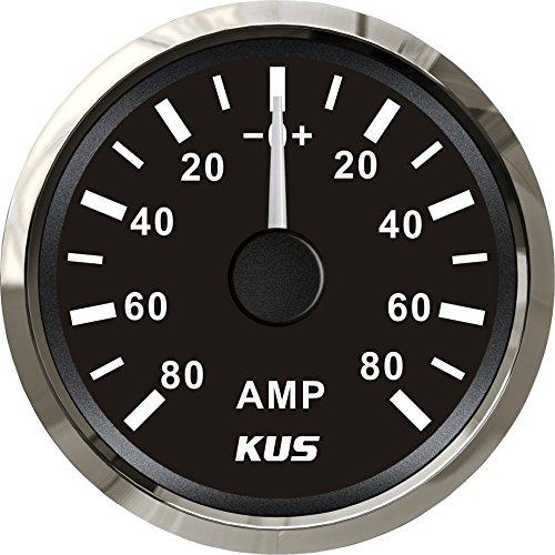 KUS Wasserdichtes Amperemeter Amperemeter Amperemeter 80 A mit Stromsensor 52 mm mit Hintergrundbeleuchtung (schwarz)