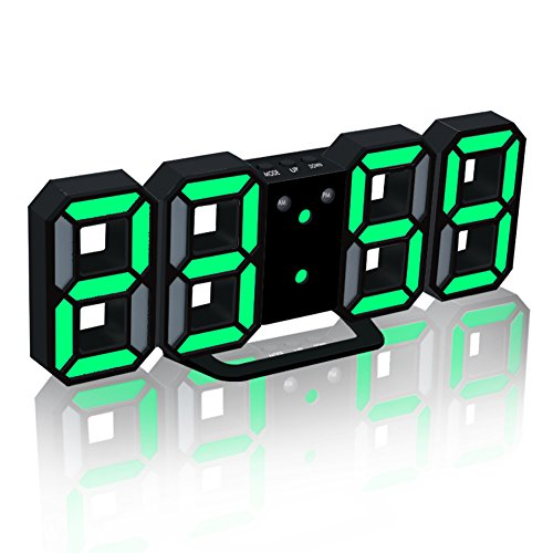 EAAGD Electronic LED Digital Alarm Clock [Upgrade Version] , Clocks Can Adjust The LED Brightness Automatically in Night (Black/Green)