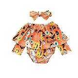 JKstore - Mono con diadema para bebé con hombros descubiertos para Halloween, diseño de calabaza y gato, para bebés de 0 a 2 años Naranja naranja 0-6 meses