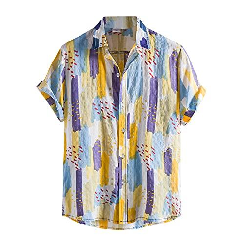 Camisa de hombre de manga corta para verano, cuello Kent, elegante, para el tiempo libre, ajustada, elástica, de manga corta, para negocios, de algodón, de lino Amarillo B. XL