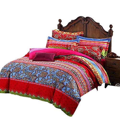 USTIDE 3-Piece Boho Bedding Bohemian Duvet Cover Set Brushed Cotton Quilt Cover Set Bedding Set 1 Comforter-Cover & 2 Pillowcases Double Size