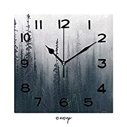 YOLIYANA 8 inch Square Clock Morning Mist Rises from Conifer Forest in Joffre Lakes Provincial Park British Canada Unique Wall Clock-for Living Room, Bedroom or Kitchen Use No-04936