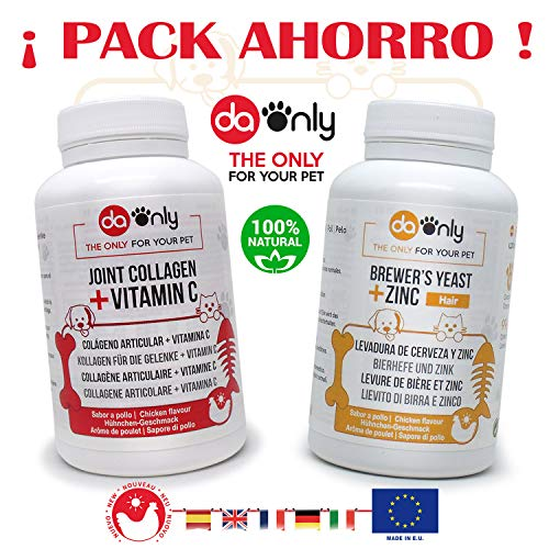 DAONLY Pack Dogs and cats joint care supplement + Brewer's jeast for coat & skin For all dogs and cats vitamins and supplements 360 care chews ckicken flavour.