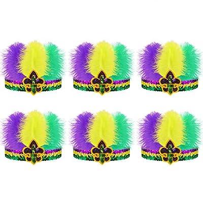 6 Packs Mardi Gras Feathers Headband Fleur-de-lis Sequin Headpieces Purple Yellow Green Cocktail Headwear Adjustable Fascinator Hats for Women Tea Party Wedding Carnival