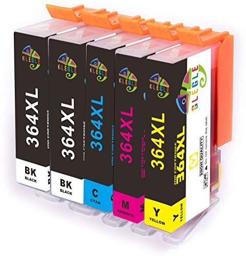 GLEGLE 364XL Cartucce HP 364 XL Compatibile per HP Photosmart 5510 5520 6510 6520 7510 7520 7515 B8550 B8558 C5370 C6388 D5460 B110a B010a B010b B111a B109a C309a B209a B210a HP Deskjet 3070A 5PK