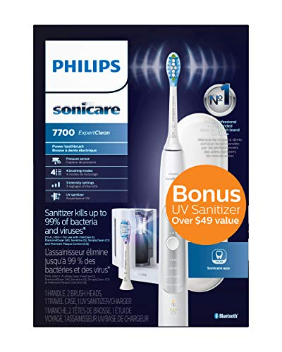 Philips Sonicare Expertclean 7700 Rechargeable Electric Toothbrush with Bluetooth & UV Sanitizer,...
