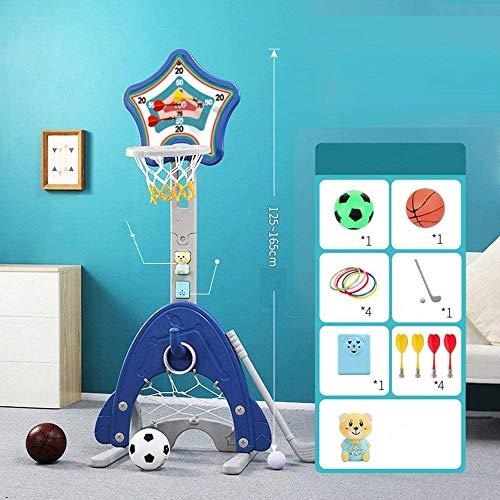 Knoijijuo Kind Basketball-Ständer Höhenverstellbar 125-165Cm Basketballkorb Baby-Schießstand 5 in 1 Dart, Basketball, Fußball, Golf, Ferrule Innen,Blau