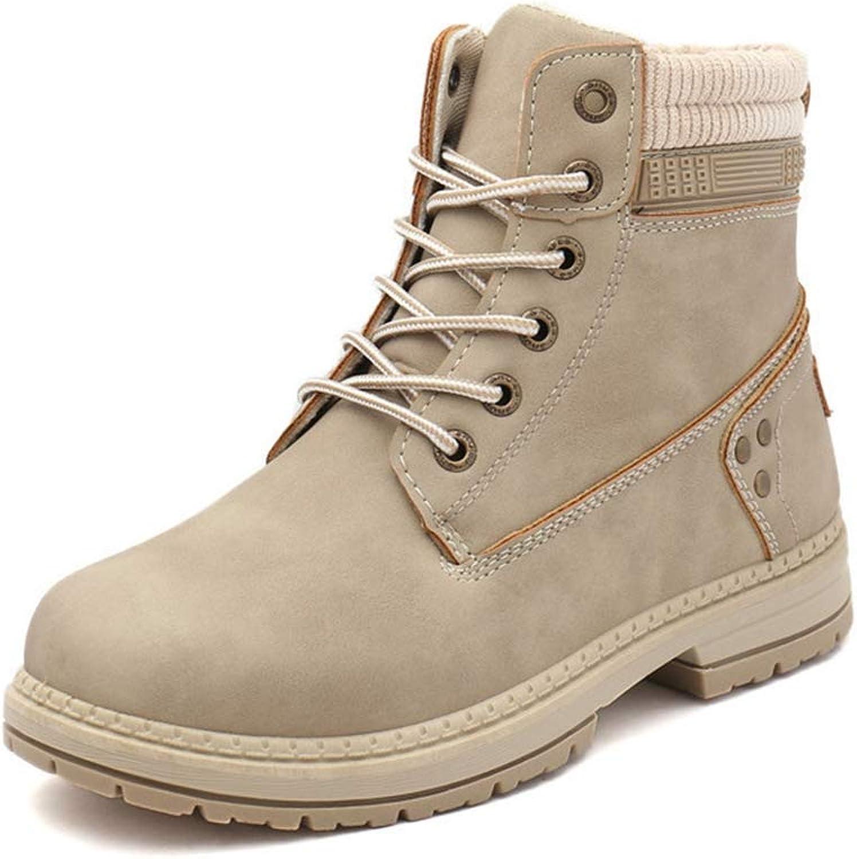 York Zhu Women Boots,Lace Up High Top Plush Warm Winter Boots Martin Boots
