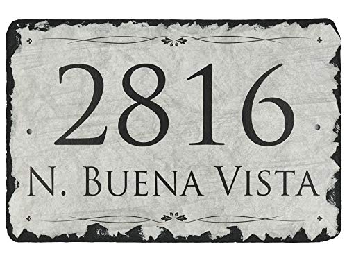 """Beautifully Handcrafted and Customizable Slate Home Address Plaque (12""""x8"""" or 16""""x10"""") Personalized House Sign with free shipping and mounting hardware. Improve the curb appeal of your property"""